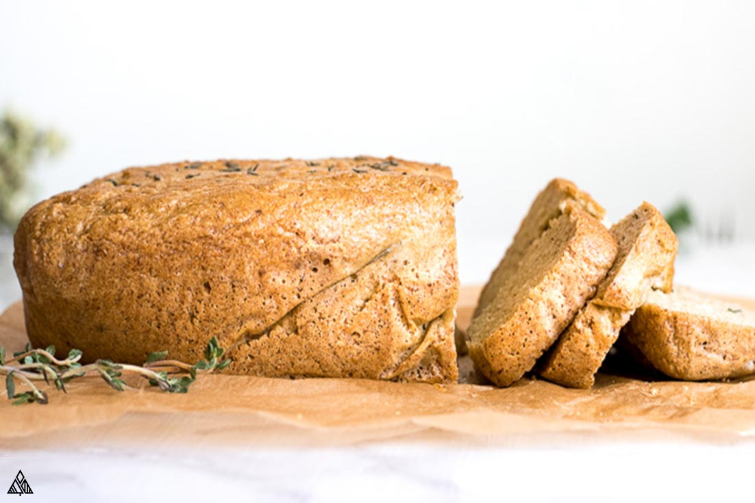 Side view of a loaf of almond flour bread