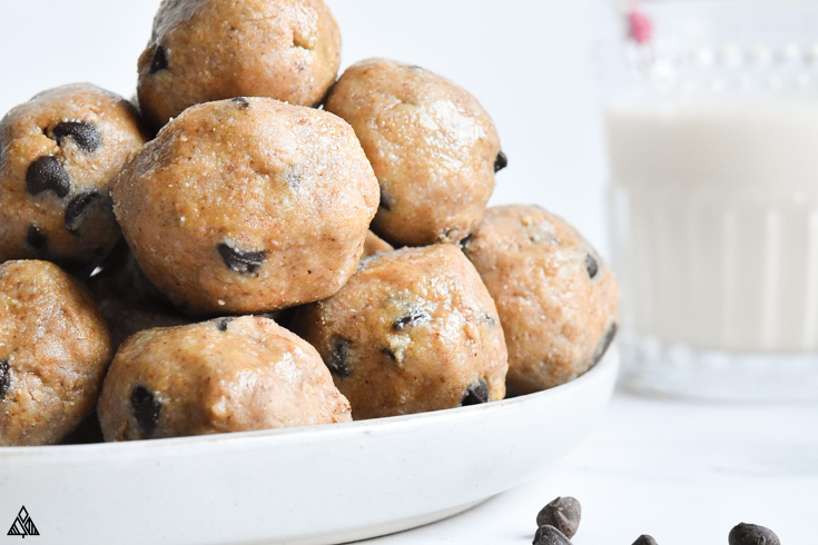 Cookie dough fat bombs in a plate