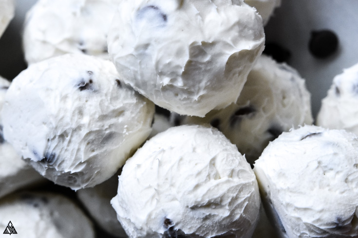 Closer look of cream cheese fat bombs