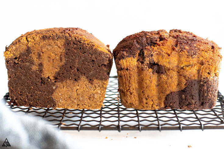 Two loaves of healthy pumpkin bread