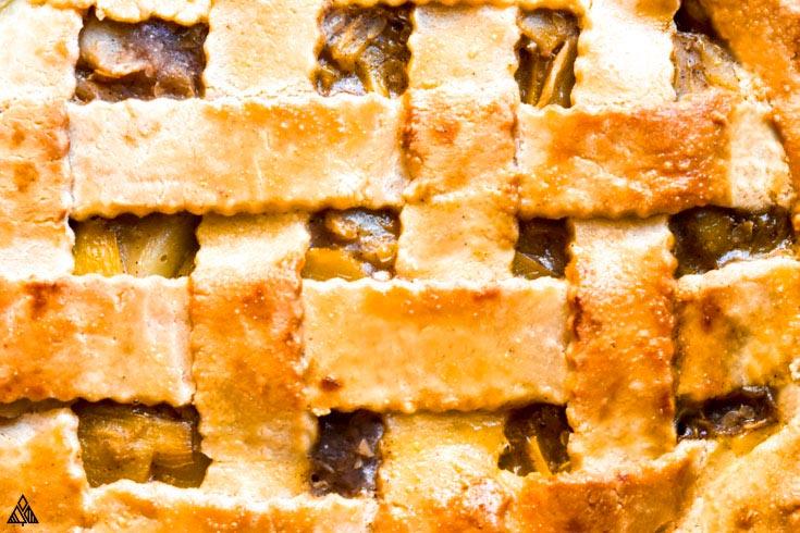 Closer look of low carb apple pie using almond flour pie crust