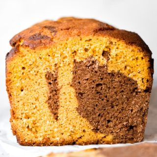 Front view of a healthy pumpkin bread loaf