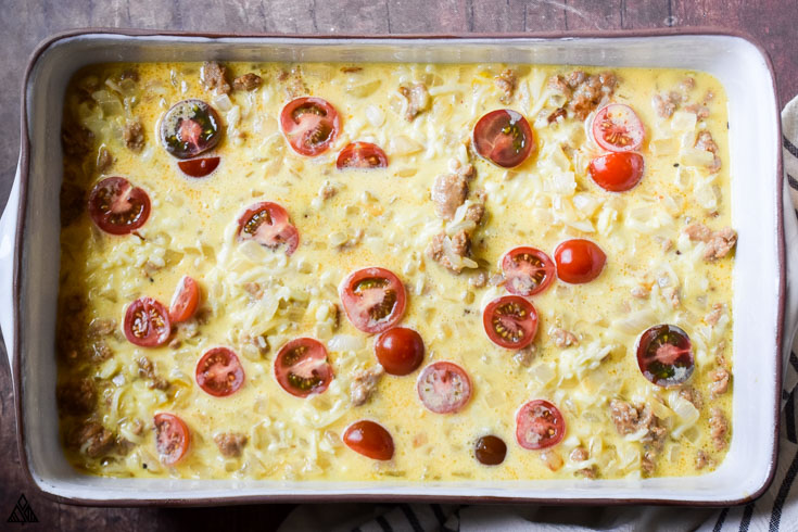 Cooking the low carb breakfast casserole