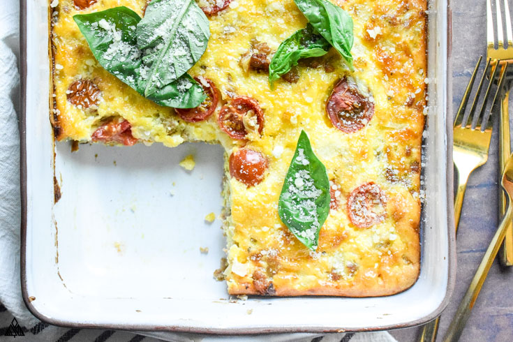 Sliced part of low carb breakfast casserole