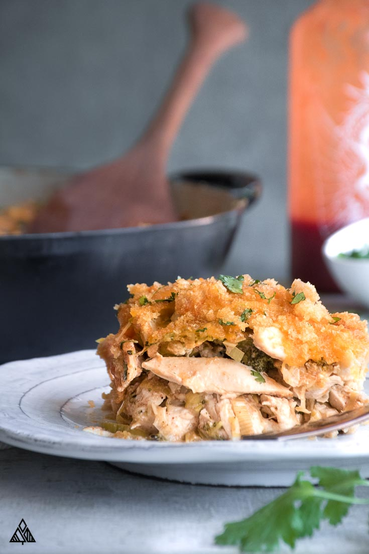 A slice of low carb chicken casserole in a plate