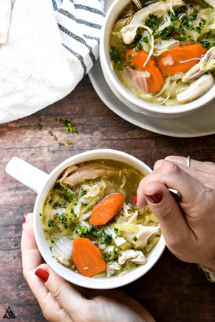 Low carb chicken soup in a cup