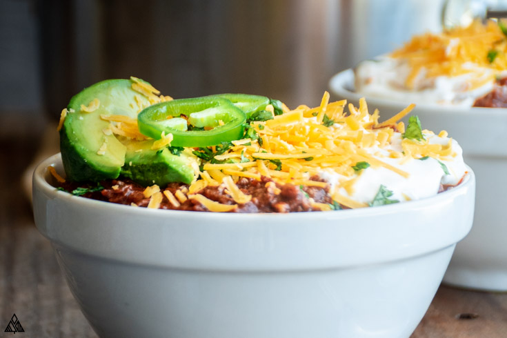 Side view of low carb chili in a bowl
