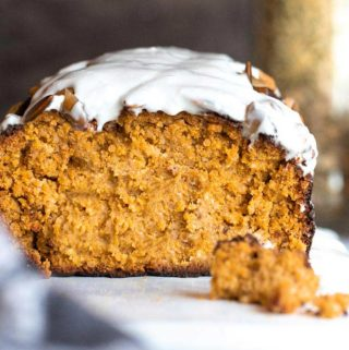 Sliced low carb pumpkin bread with glaze