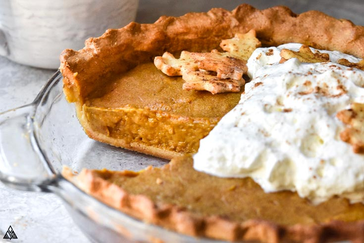 Side view of the sliced part of low carb pumpkin pie