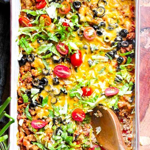 Top view of low carb taco casserole