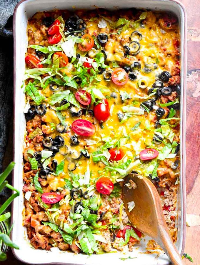 Low Carb Taco Casserole (Suuuper Cheesy!)