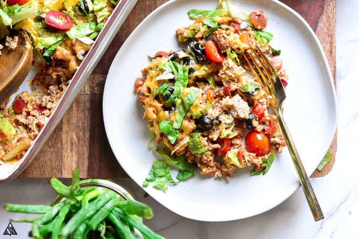 Low carb taco casserole in a plate