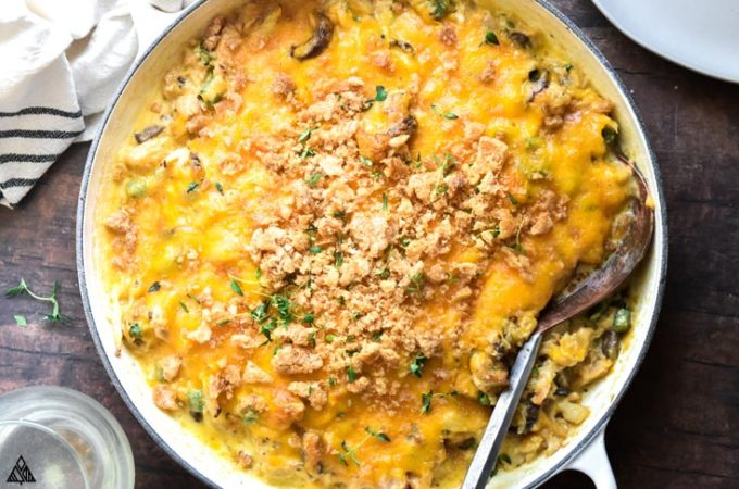 Top view of low carb tuna casserole and a laddle
