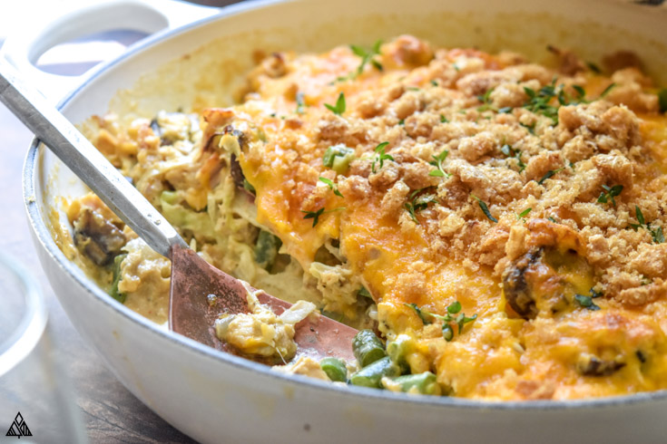 Side view of low carb tuna casserole