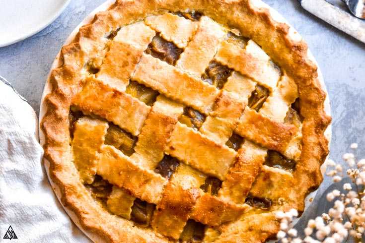 Top view of low carb apple pie