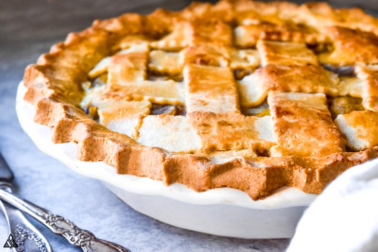 Side view of low carb apple pie in a dish
