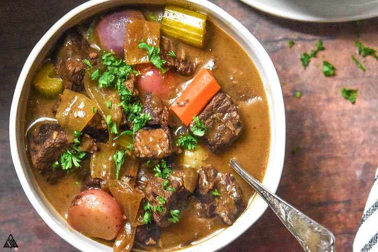 A bowl of low carb beef stew