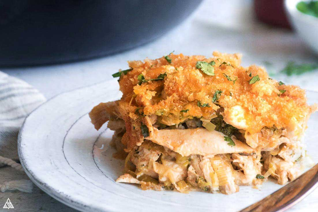 side view of low carb chicken casserole