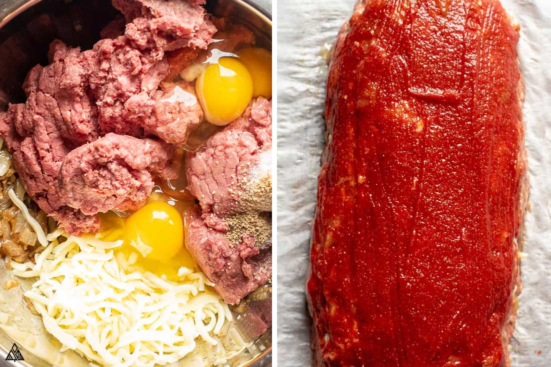 All ingredients for low carb meatloaf