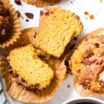 Top view of sliced low carb pumpkin muffins