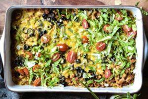 Low carb taco casserole in a casserole dish