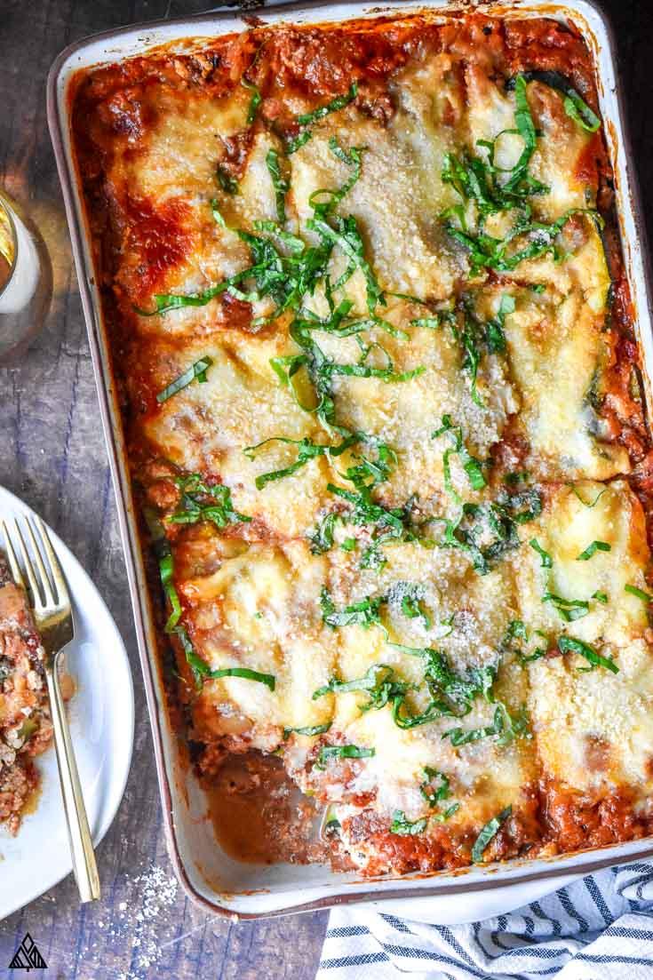 Top view of zucchini lasagna