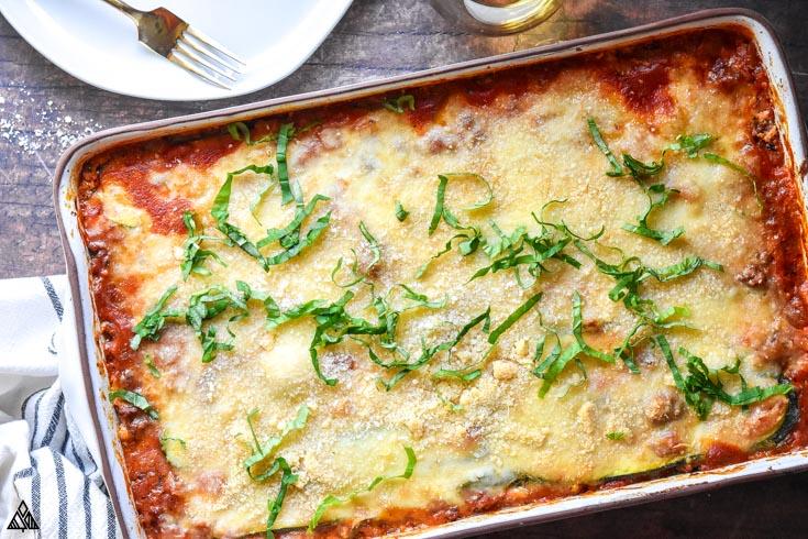 Zucchini lasagna in a casserole dish