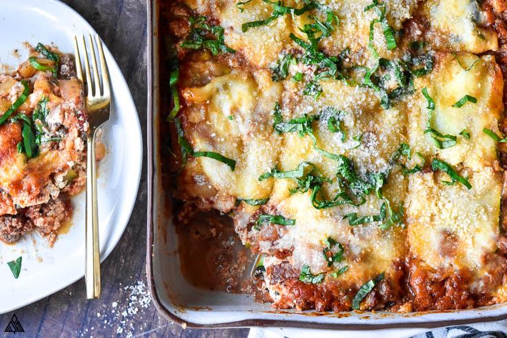 Closer look of zucchini lasagna