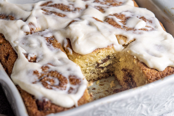 Side view of low carb cinnamon rolls with frosting
