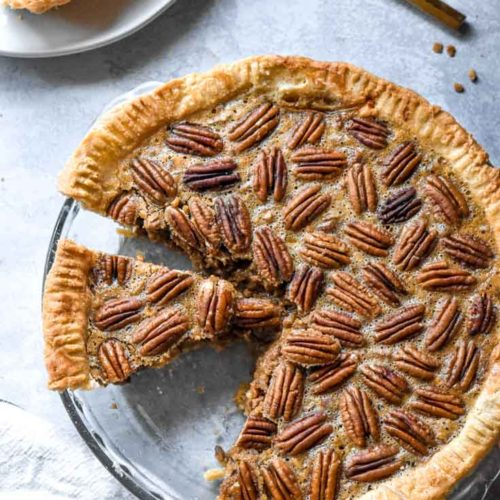 Top view of low carb pecan pie