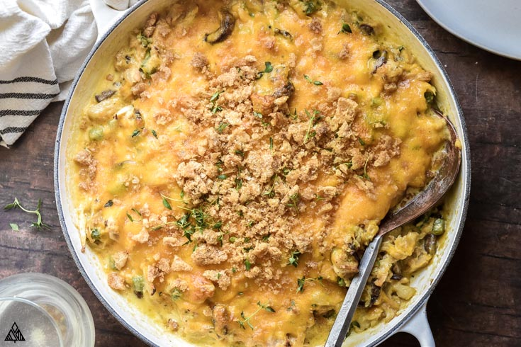 Top view of low carb tuna casserole