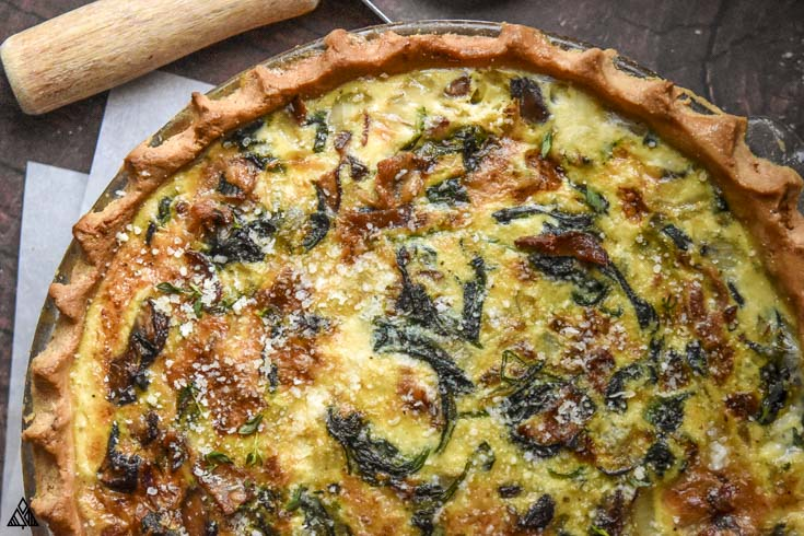 Closer look of mushroom quiche
