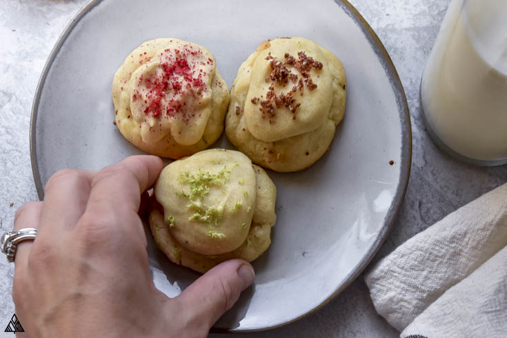 low carb cream cheese cookies in a bowl