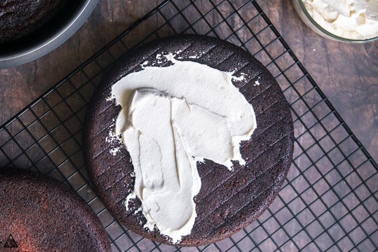 low carb cream cheese frosting on the top of a cake