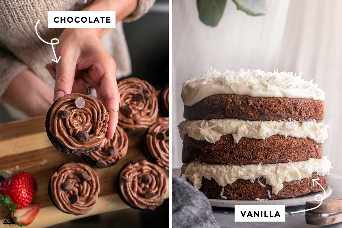 low carb cream cheese frosting variants, chocolate and vanilla