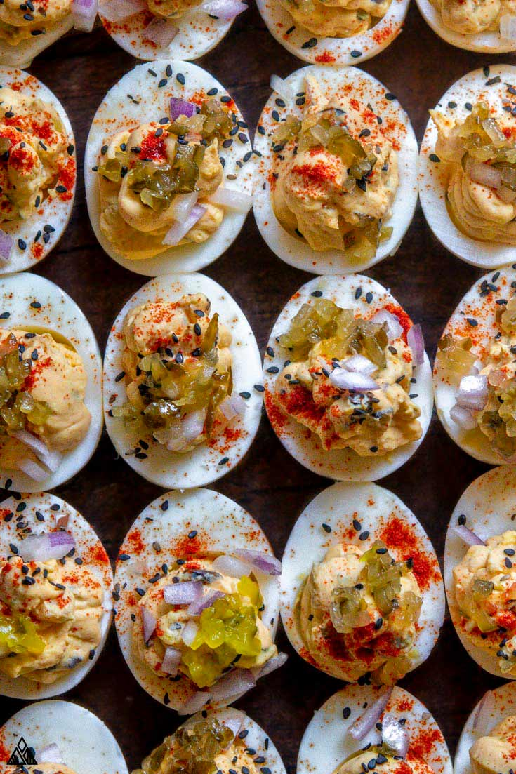 Top view of deviled eggs with relish