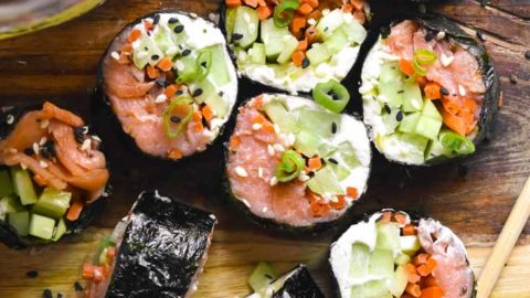 Low carb sushi on a cutting board