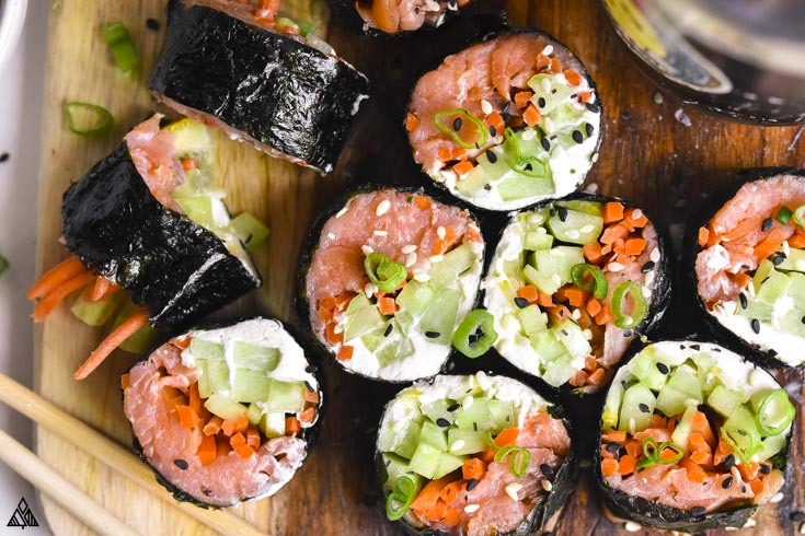 Top view of low carb sushi