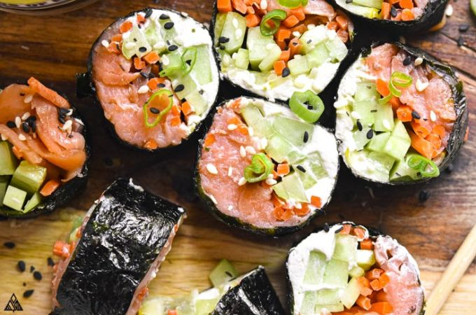 Closer look of low carb sushi