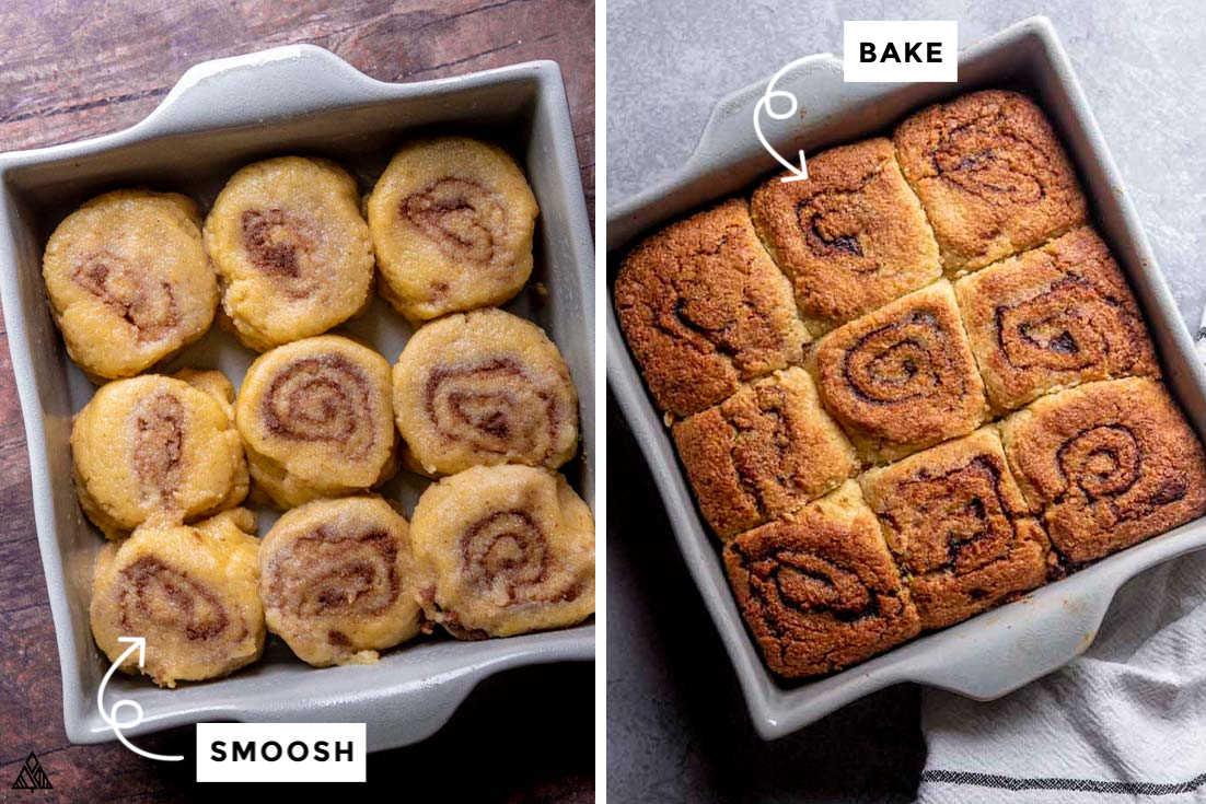 A collage of raw low carb cinnamon rolls in the left and cooked low carb cinnamon rolls in the right