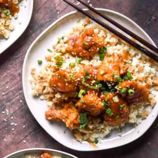 top view of low carb orange chicken on a plate
