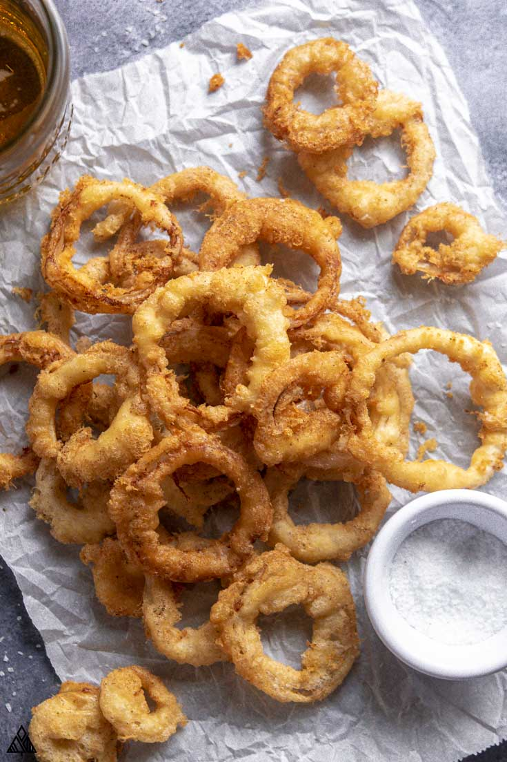 Top view of low carb onion rings