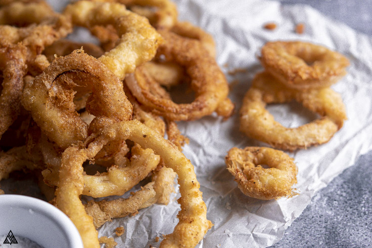 Closer look of low carb onion rings