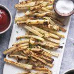 Top view of jicama fries