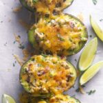 avocado tuna salad topped with cheese