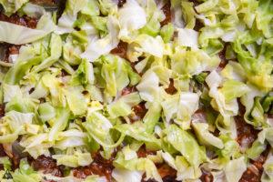 layering ingredients for cabbage lasagna