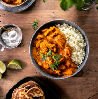 top view of indian chicken tikka masala recipe in a bowl