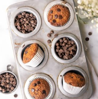 top view of banana bread muffins in a muffin tray